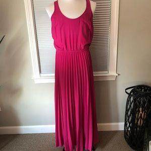 Michael Kors Hot Pink Pleated Maxi Dress Size L